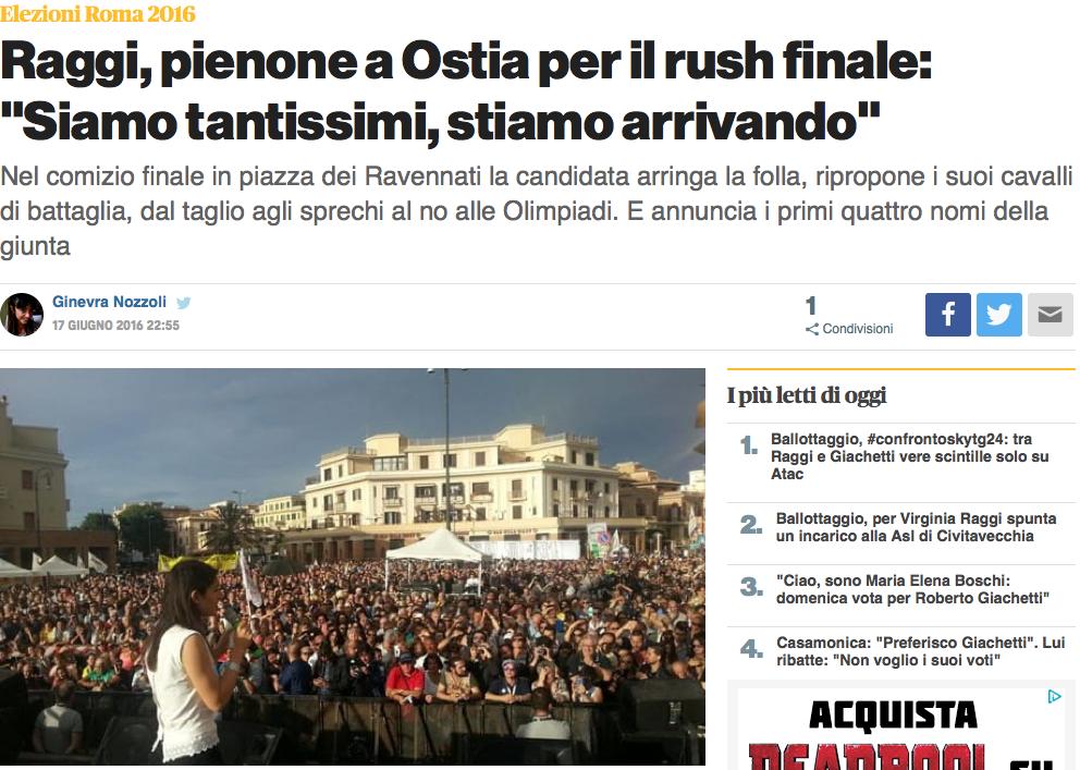 Dal sito di Roma Today l'articolo sul comizio finale della Raggi