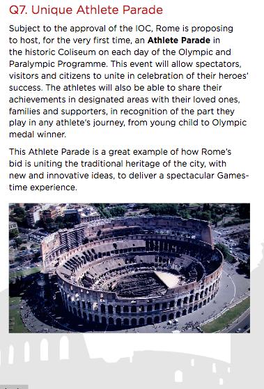 Dal sito di Roma 2024, dal dossier presentato a febbraio 2016