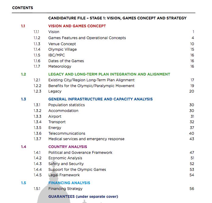 indice del dossier del febbraio 2016 (dal sito del comitato promotore, scaricato il 29 agosto 2016)