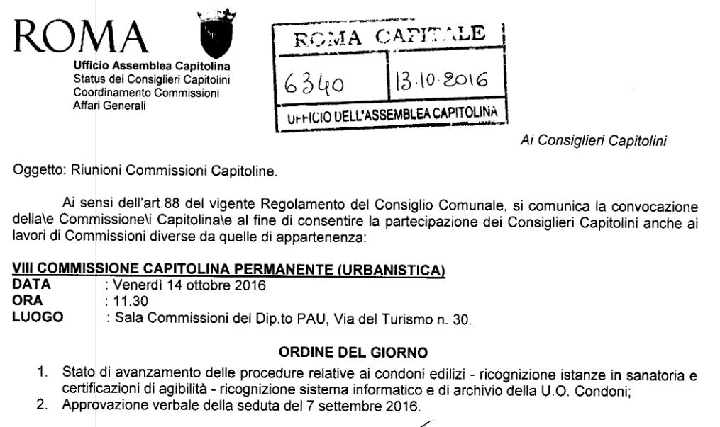 La convocazione di una commissione il 13 ottobre per il 14