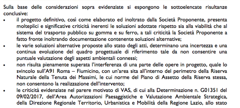 conclusioni VIA 1