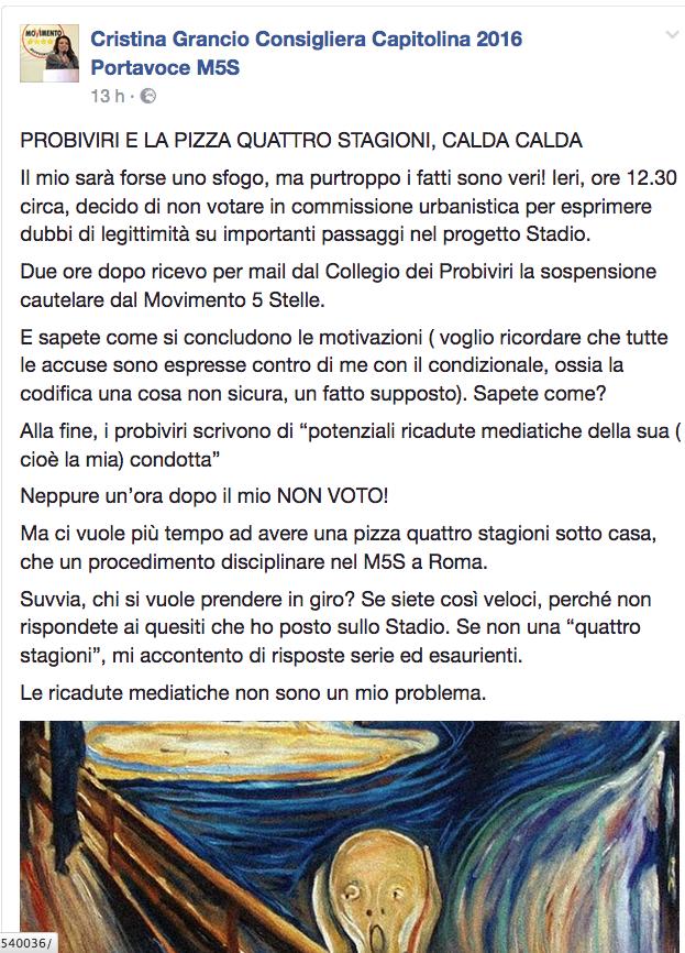 Post sulla pagina Fb di Cristina Grancio 10 giugno