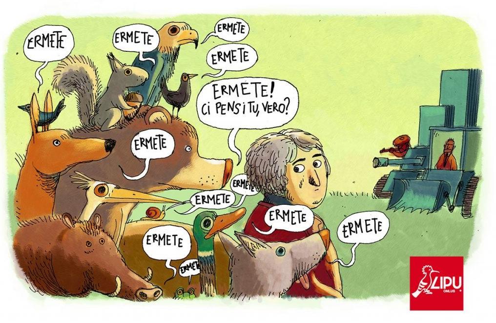 La vignetta della LIPU che sollecitava il Presidente della Commissione Ambiente a intervenire per modificare la legge
