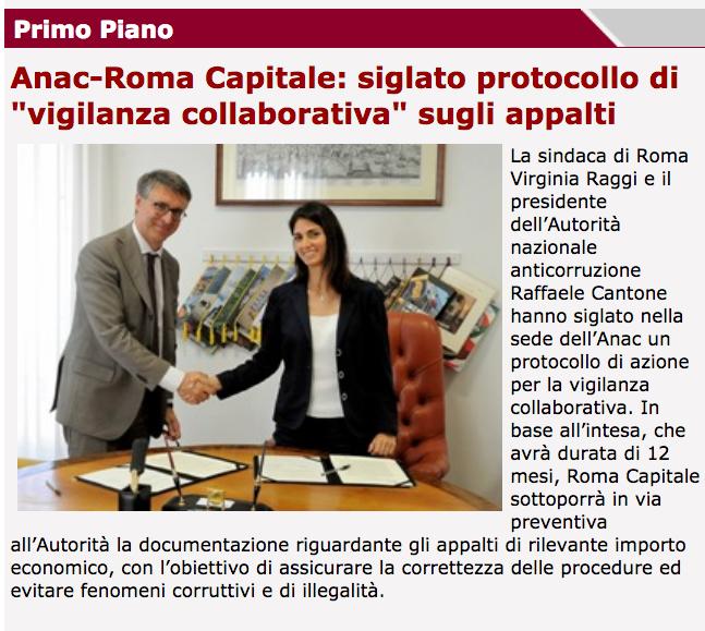 sito roma capitale raggi cantone accordo