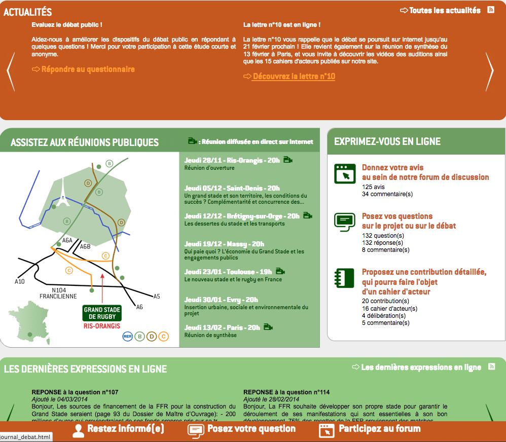 Il sito dedicato al dibattito pubblico sul progetto Grand Stade de Rugby di Evry