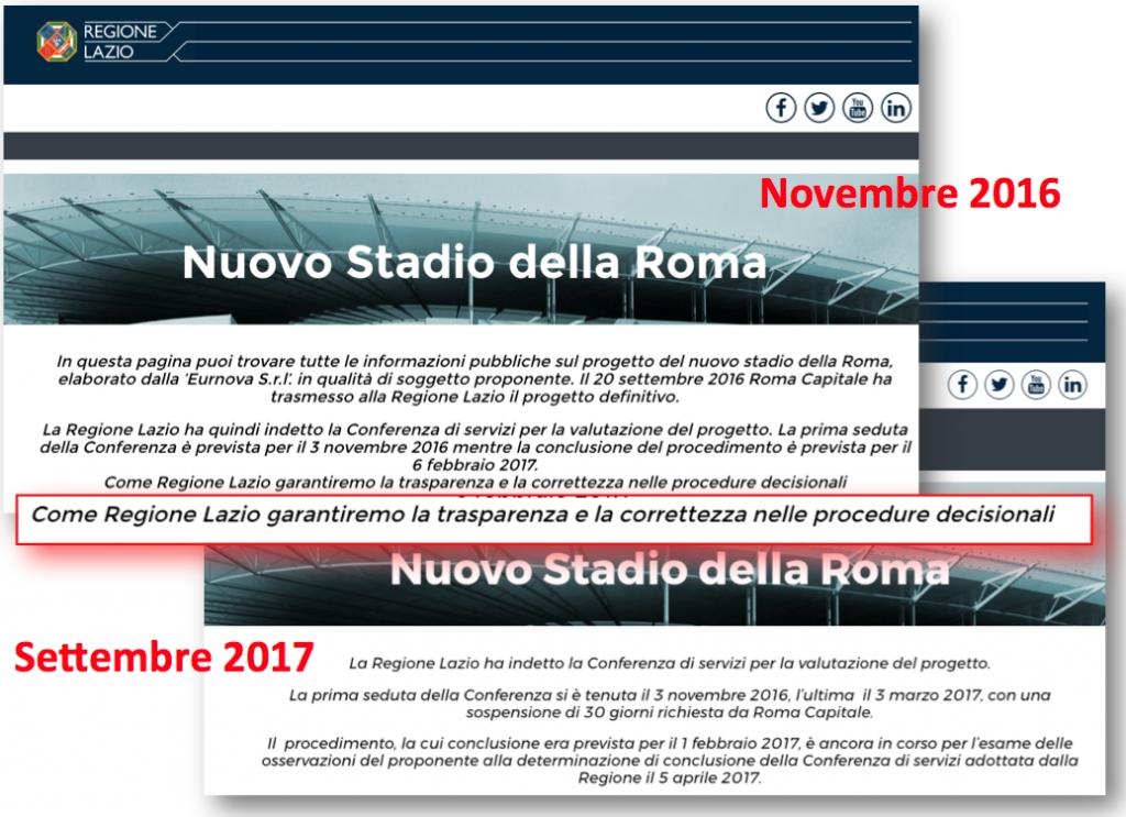 confronto testo sito stadio della roma regione 2016 2017