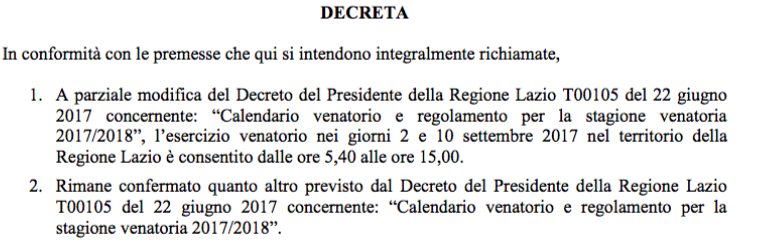 modifica calendario venatorio regione lazio