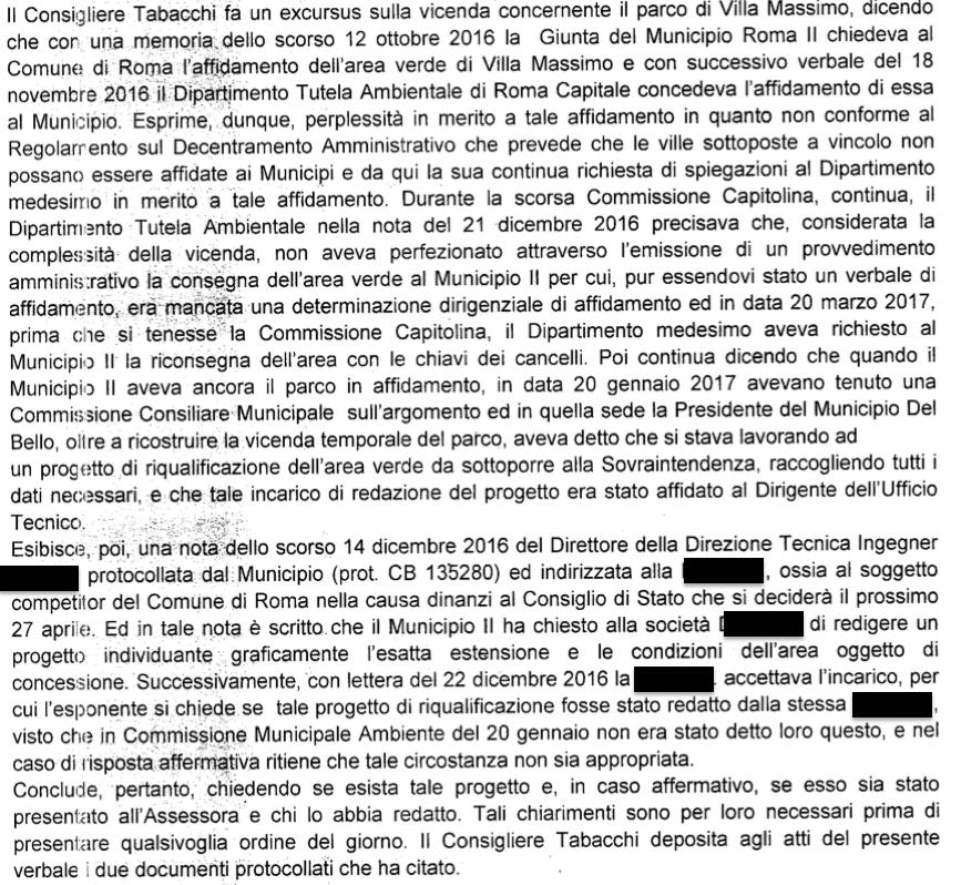 estratto verbale (Tabacchi) cons municipio II marzo 2017 Villa Massimo