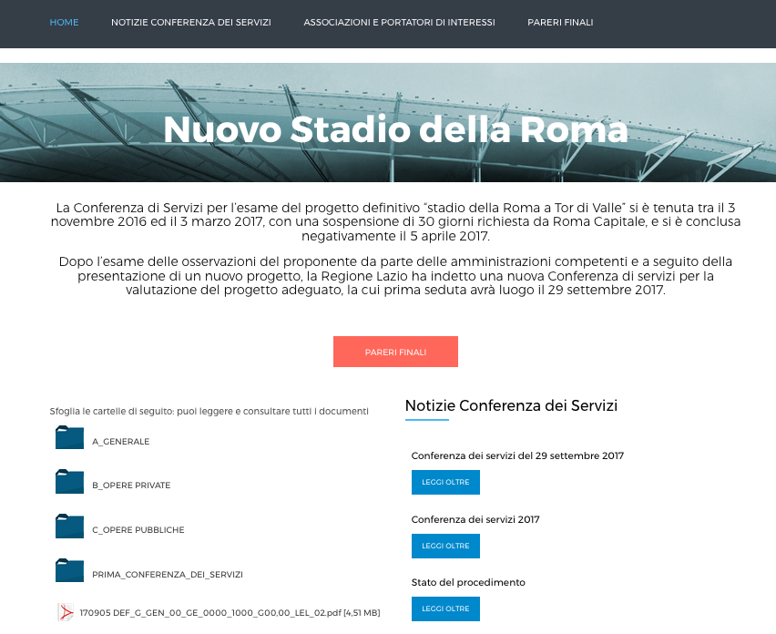 home page sito regione stadio Schermata 2017-10-06 alle 23.19.41