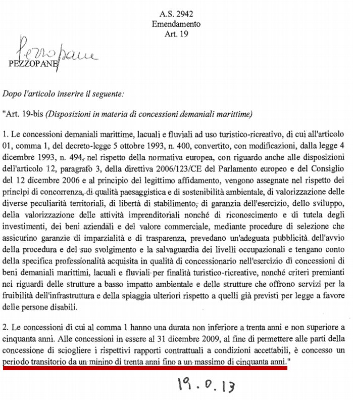 emendamento Pezzopane balneari