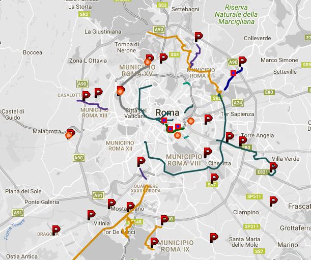 mappa punti fermi trasporto pubblico
