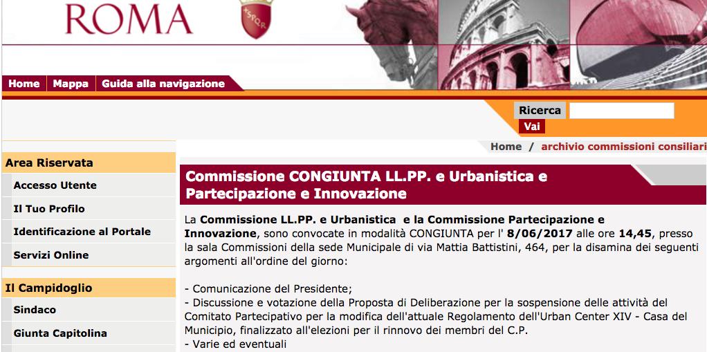 sito municipio XIV conv comm per sospensione urban center
