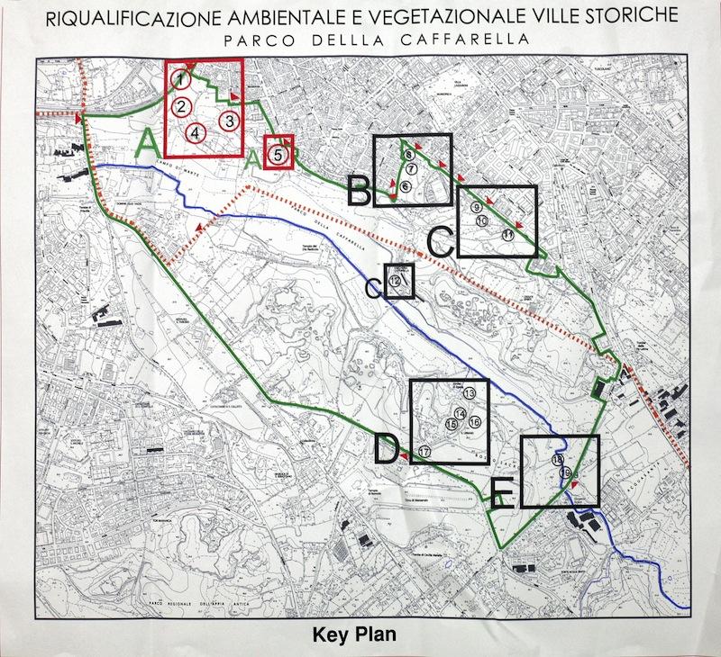 Mappa con le aree degli interventi previsti (per gentile concessione del Dipartimento Ambiente)