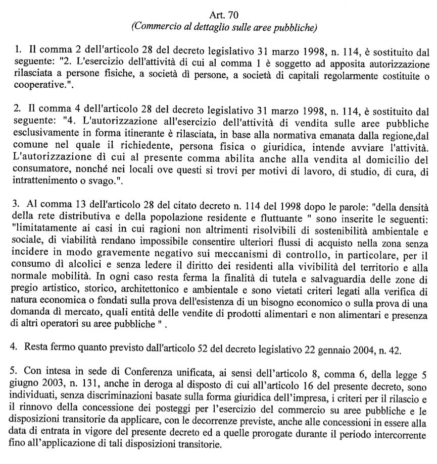art. 70 decreto legislativo 59:2010