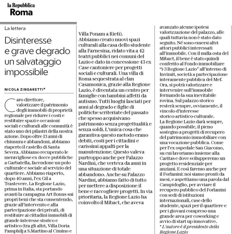 Zingaretti repubblica villa nardini 9 gennaio 2018