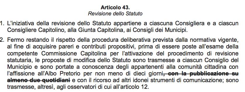 art. 43 modifiche statuto - da bozza gennaio 2018