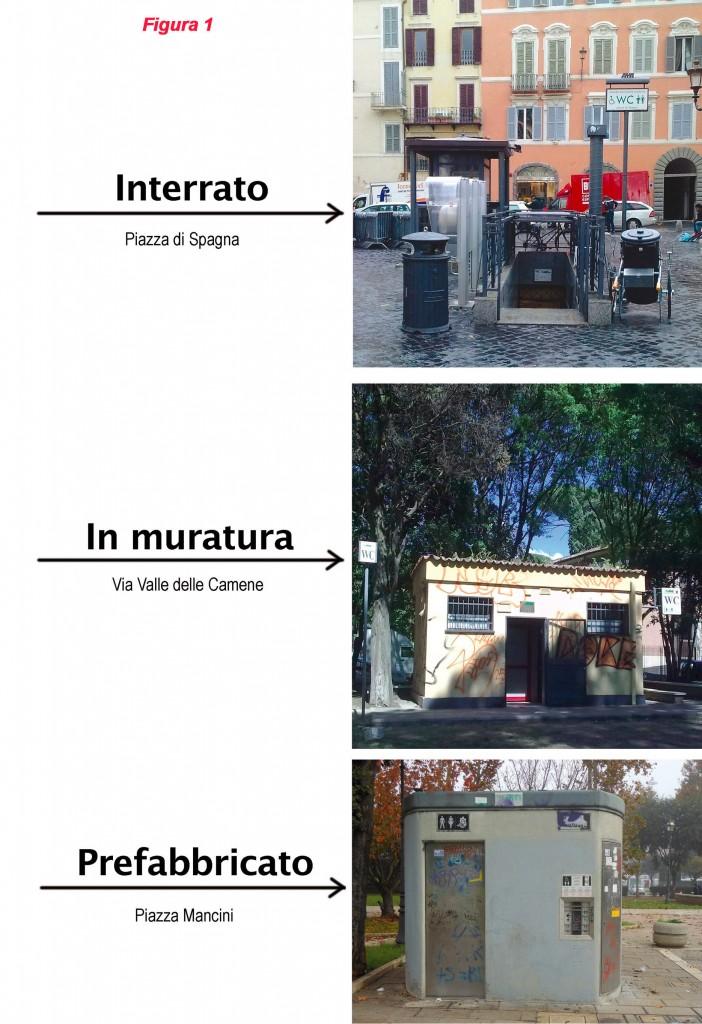 Fig. 1 Le tre tipologie di bagno pubblico, Stato attuale degli impianti