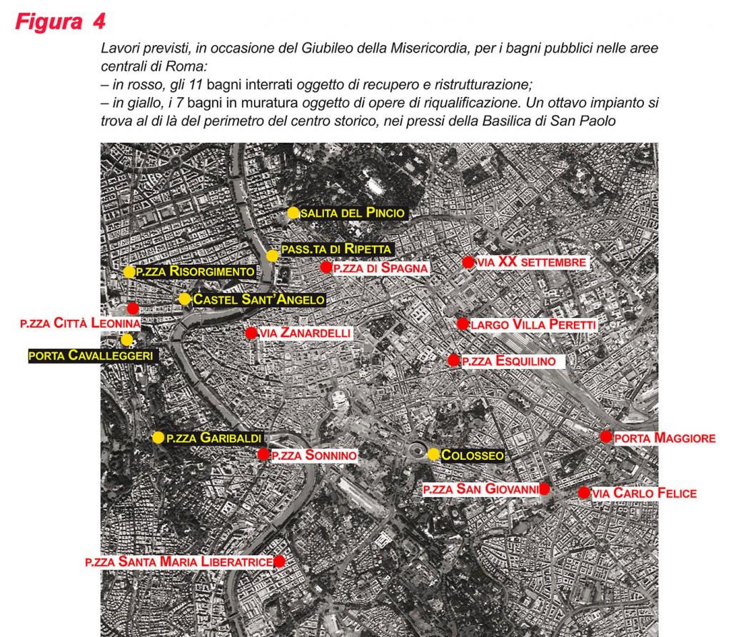 Fig. 4 In rosso, i bagni interrati; in giallo, i bagni in muratura