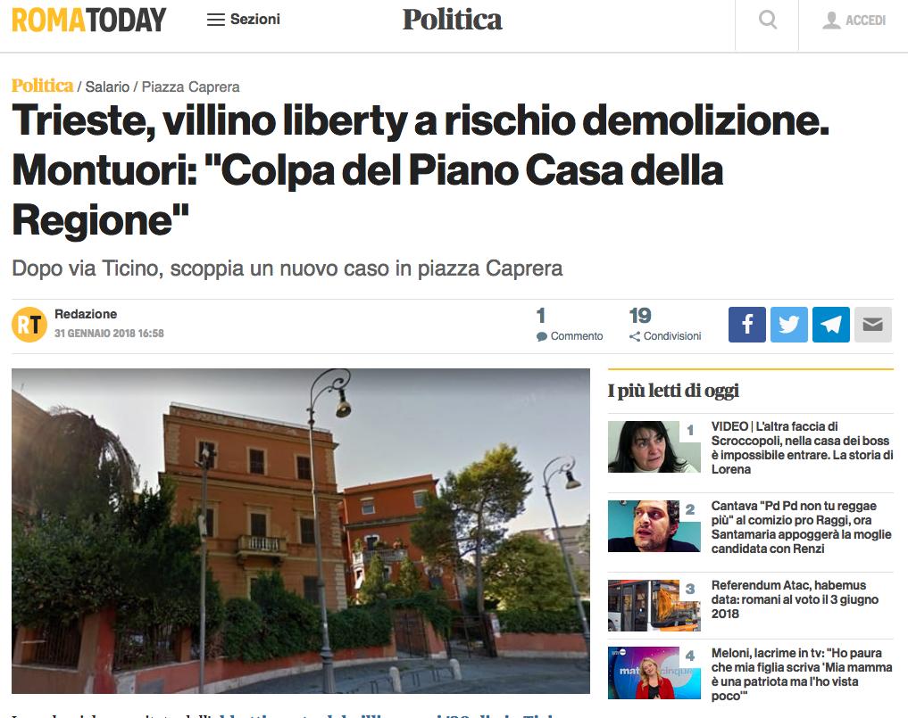 Roma today sito villino piazza caprera demolizione 29 gennaio