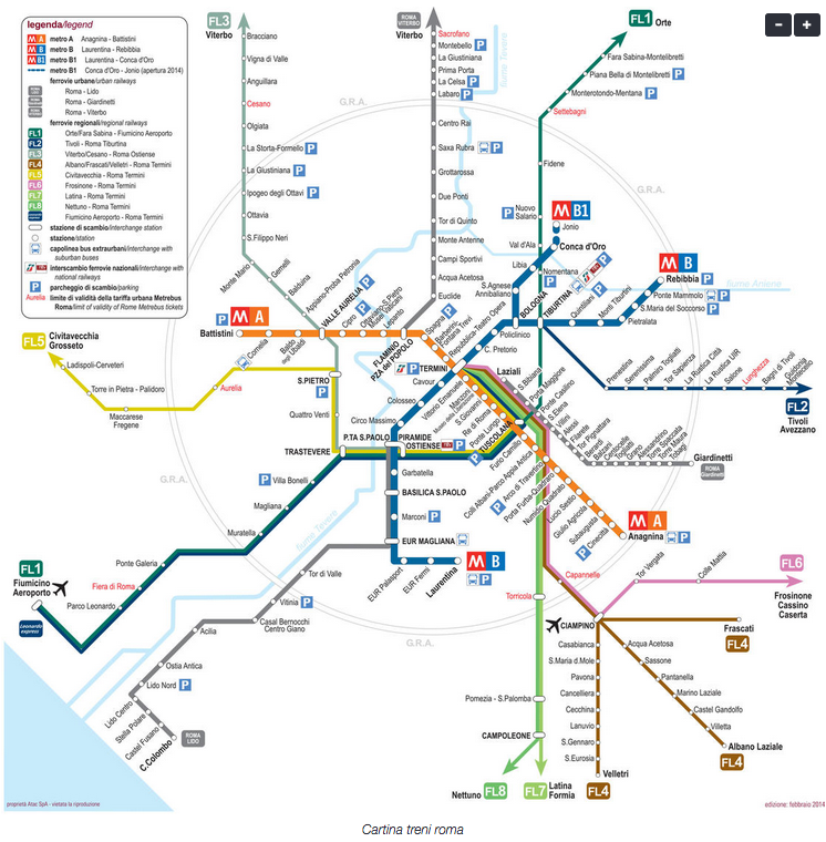 cartina treni Roma
