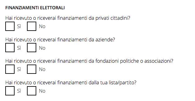domande riparteilfuturo finanziamenti elettorali