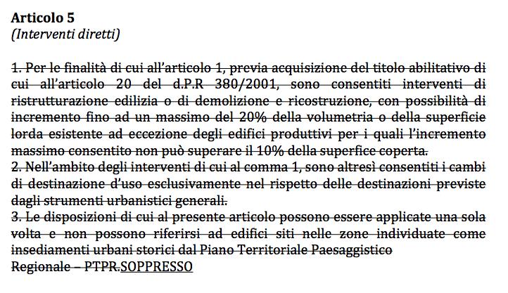 """La proposta di emendamenti alla PL 365, oggi Legge 7/2017, con la sopressione dell'art. 5, oggi 6, """"Interventi diretti"""""""