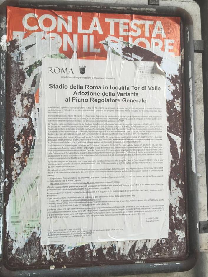 uno dei rarissimi manifesti affisso in occasione della pubblicazione della Varaiante urbanistica per lo stadio (Foto AMBM)