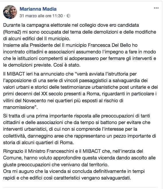 Dal profilo Fb del Ministro Marianna Madia
