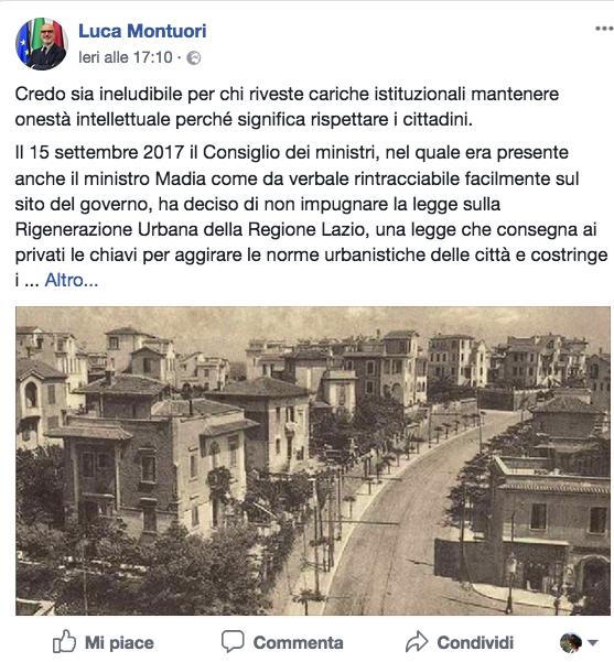 Dal profilo Fb dell'assesore Luca Montuori
