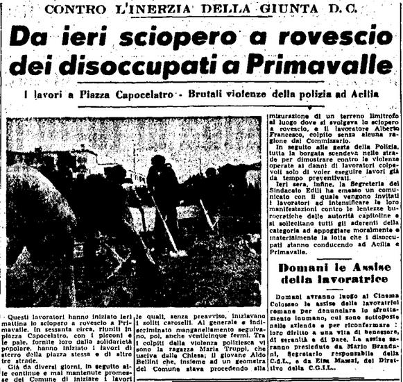 sciopero a rovescio da primavalleinrete Unita 2 marzo 1951