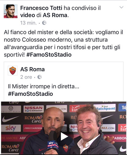Totti tweet stadio