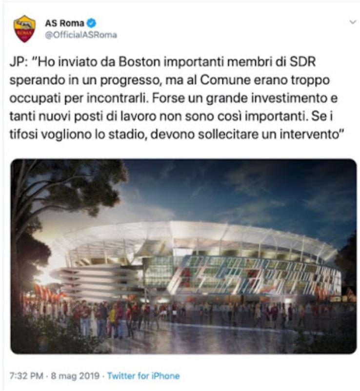 tweet pallotta 8 maggio 2019