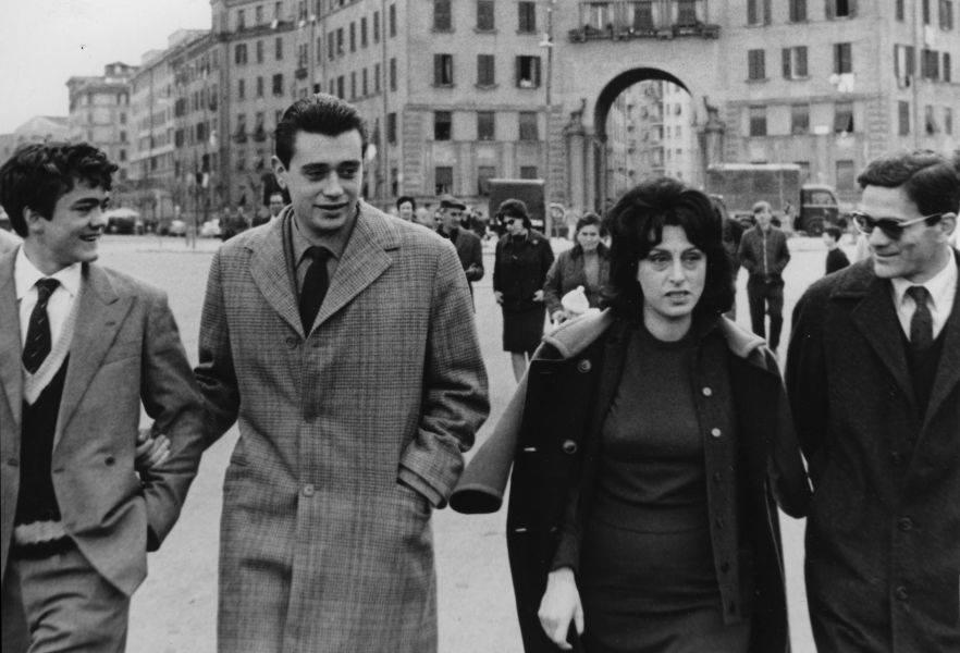 E. Garofalo, C. Di Carlo, A. Magnani, P.P. Pasolini (Angelo Novi © Fondo Carlo Di Carlo)