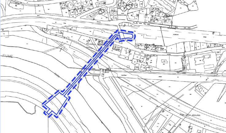"""Stralcio dell'Elaborato B1.2 """"Planimetria catastale e proprietà opere di connessione esterna, idrovora"""" n. DEF G GEN 00 UR 0000 0207 G 00,00 STB 03"""