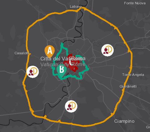 mappa zone roma bus turistici