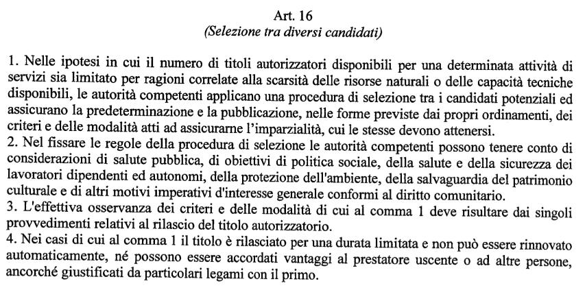 GU dl 59:2010 direttiva CE servizi art. 16