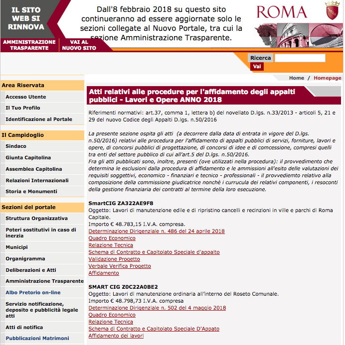 Sito comune sez trasaparenza bandi 2018 lavori Schermata 2019-01-30 alle 16.34.18
