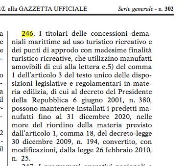 art. 246 legge bilancio balneari GU 31 12 2018