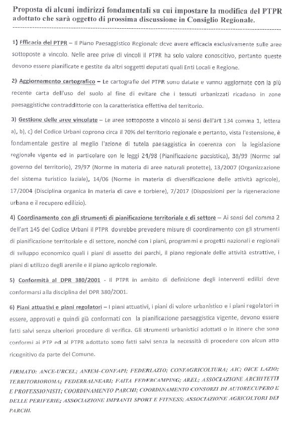 il documento distribuito all'incontro pubblicato da VAS Roma