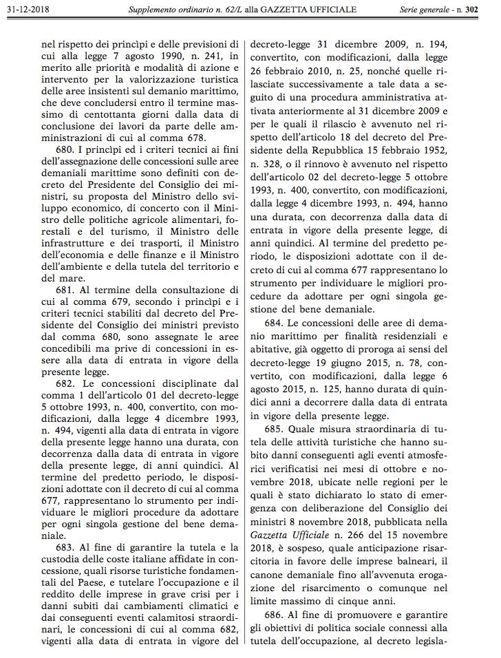 legge bilancio balneari GU 31 12 2018 2