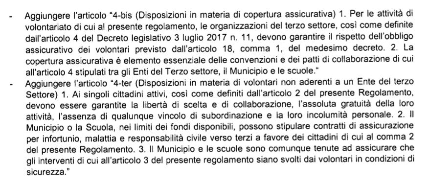 proposta m5s II Municipio assicuraz volontari