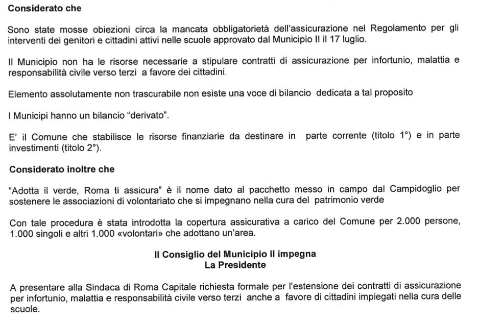 stralcio da mozione magg II Municipio assicurazione volontari