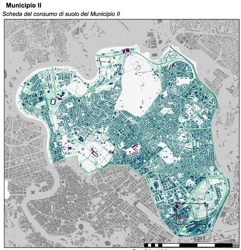 tavola istat rm cosnumo suolo roma II municipio