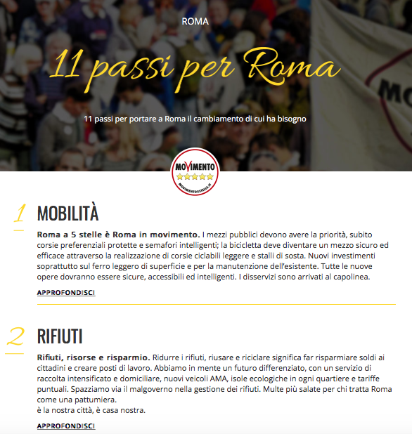 11 punti per roma m5s 2016 1