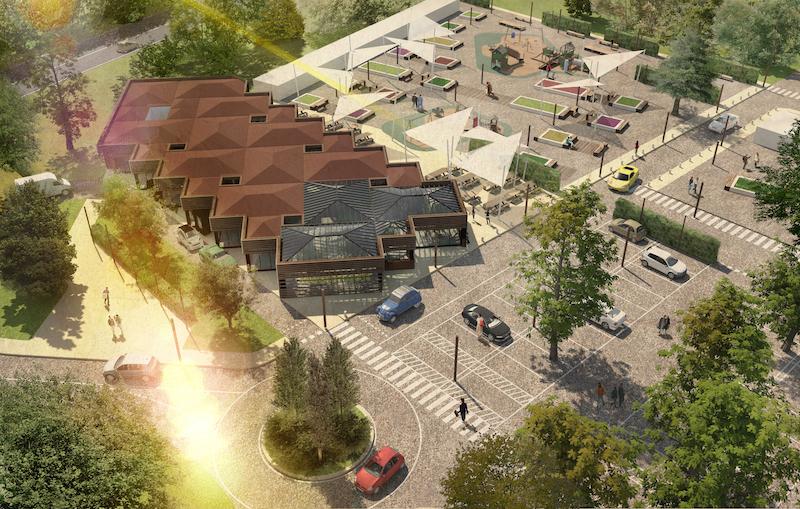 Il render del ristorante con parcheggio e  area giochi