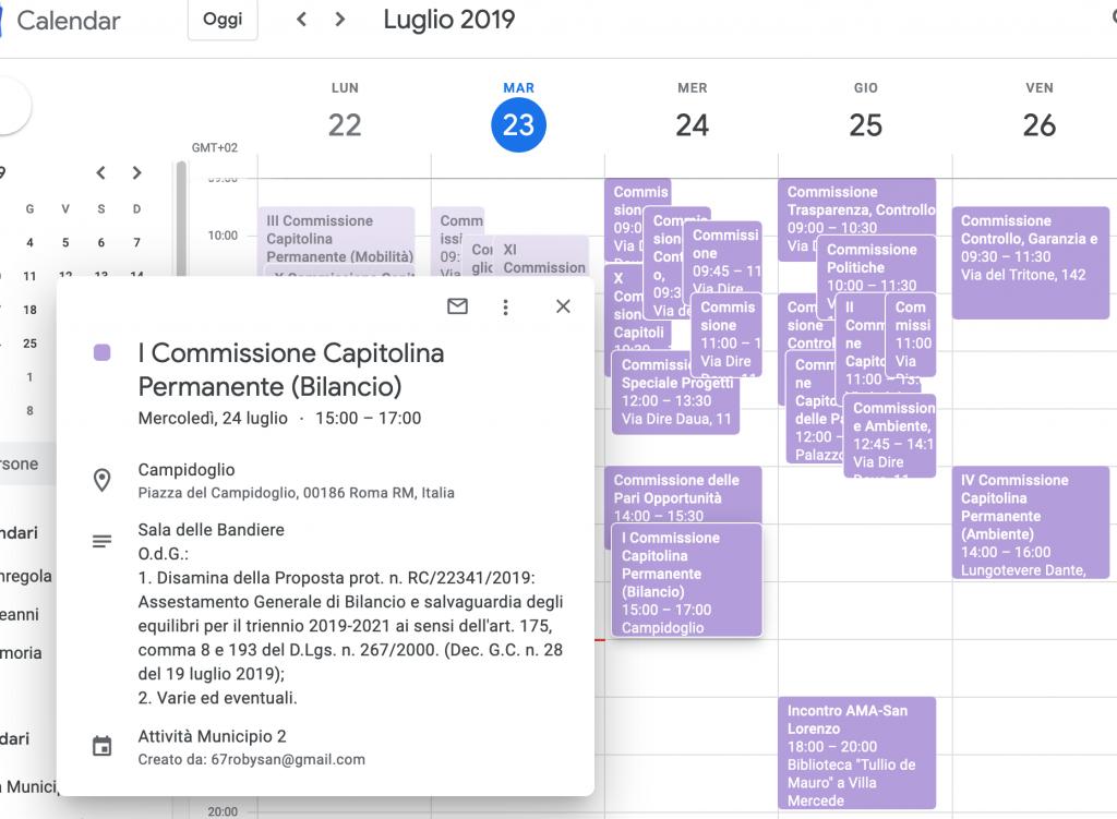 Screen shot calendario comm capitoline 2019-07-23
