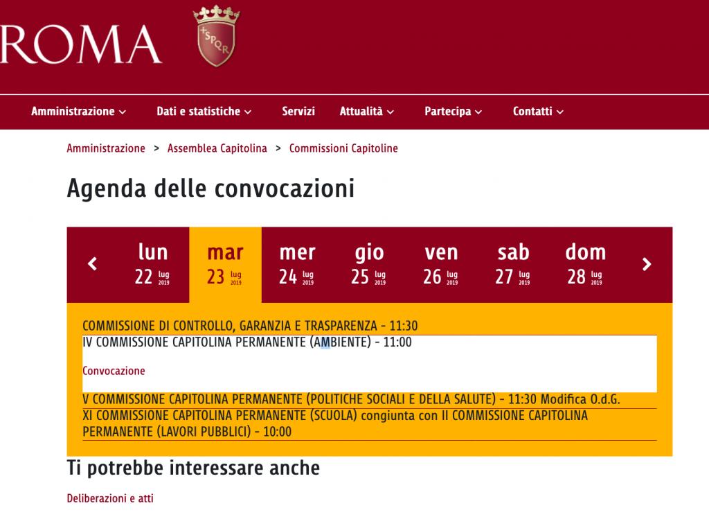 Screen shot calendario comm capitoline sito comune