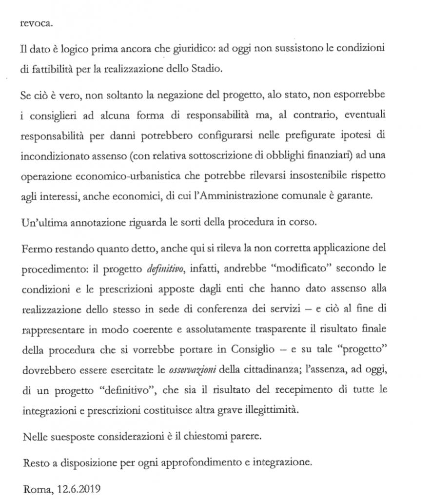 conclusioni parere legale stadio della roma 2