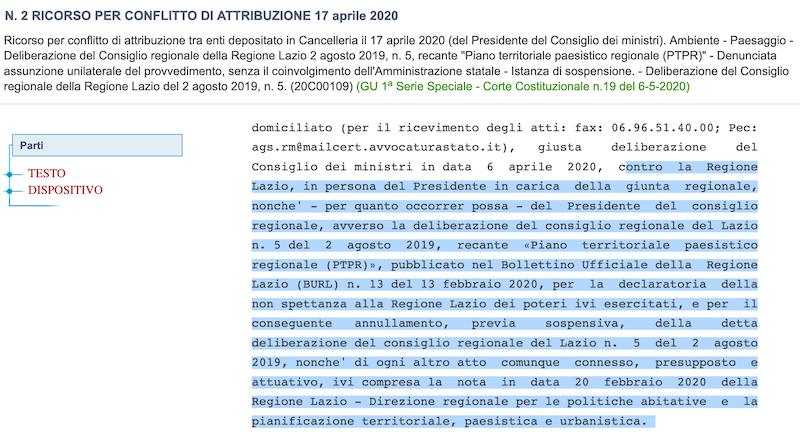 gazzetta ufficiale impugnazione PTPR 17 aprile 2020