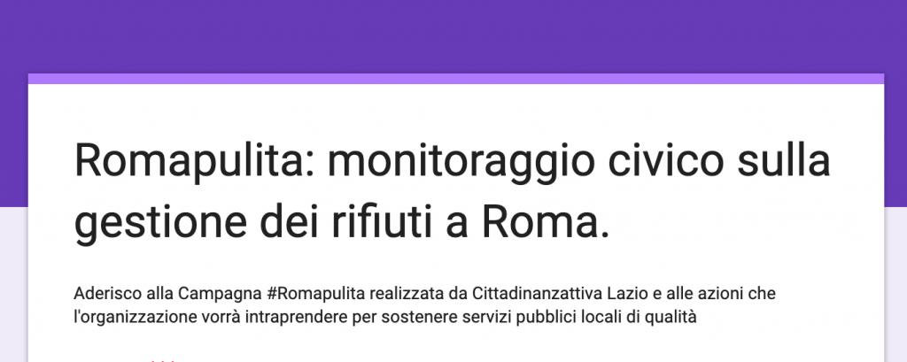 roma pulita monitoraggio CIVICO CA